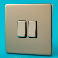 Varilight 2 Gang 2 Way 10A Rocker Light Switch Screwless Satin Chrome Dec Switch - XDN2S